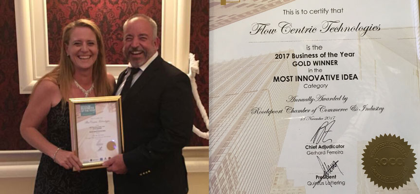 Odette Pieters and Denis Bensch accepting the certificate on behalf of FlowCentric Technologies